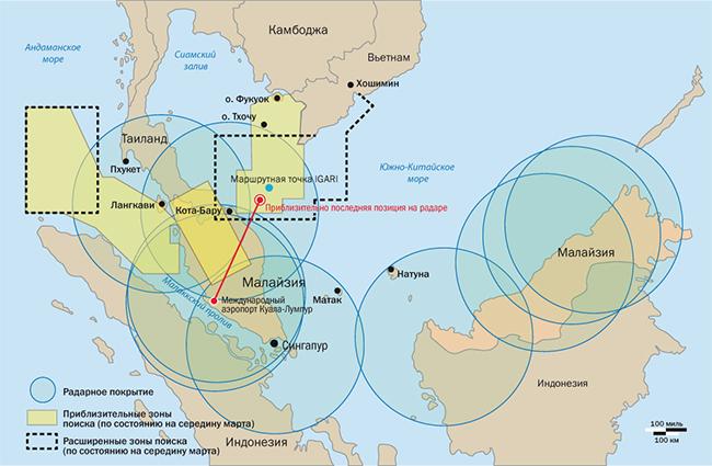 Схема полета рейса MH370