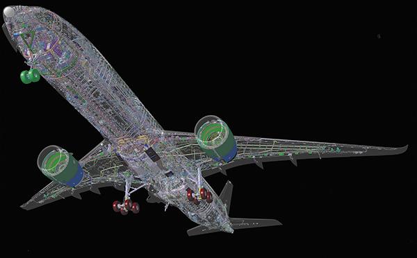 Цифровая модель A350 XWB: 3 млн компонентов самолета доступны в реальном времени для 4 тыс. инженеров // Airbus