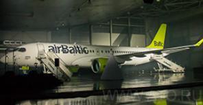 Первый Bombardier CS300 AirBaltic: вид изнутри