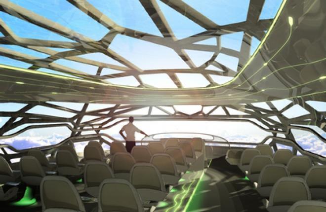 Панорамный вид из самолета будущего -- концепция Airbus