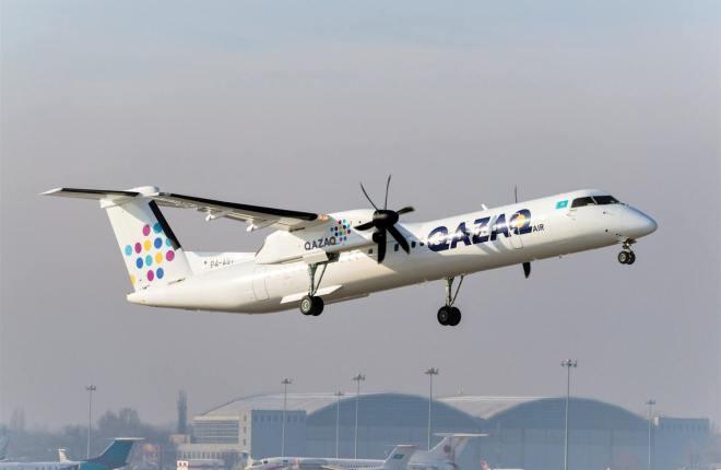 самолет Bombardier Q400 NextGen авиакомпании Qazaq Аir