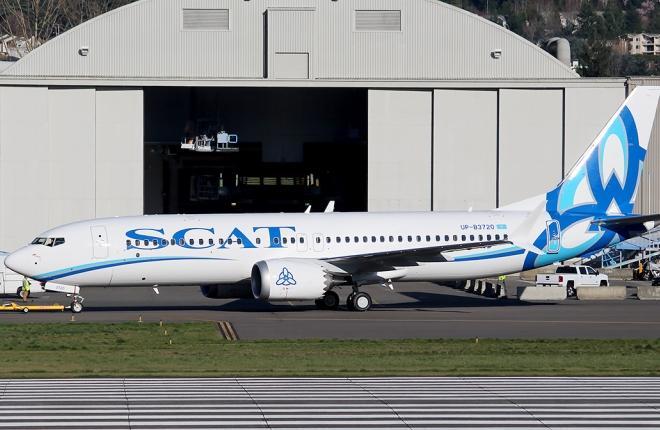 Самолет Boeing 737MAX-8 в ливрее казахстанской авиакомпании SCAT