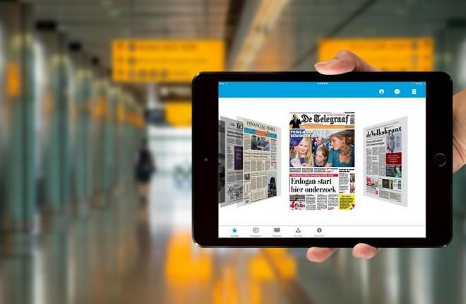 Планшет с приложением KLM Media App