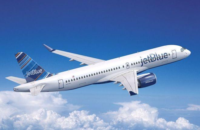 Самолет Airbus А220-300 (CS300) в ливрее JetBlue