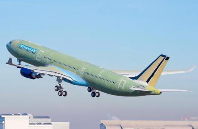 Самолет Airbus A330 с увеличенной взлетной массой совершил первый полет