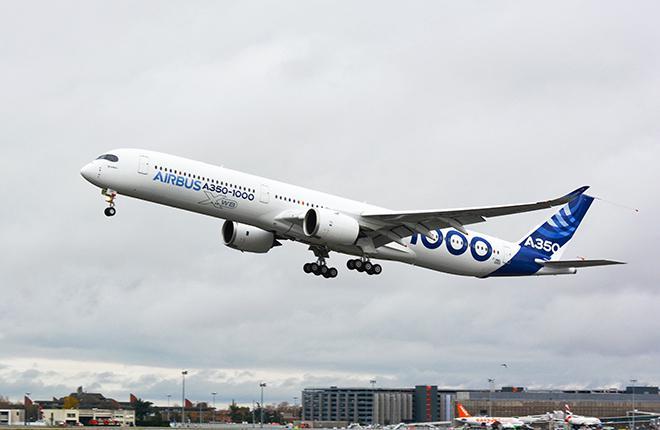 Первый полет самолета Airbus A350-1000