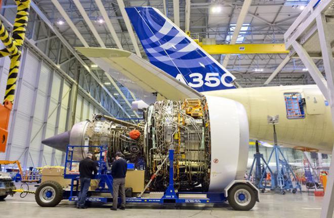 Двигатель Rolls-Royce XWB на заводе Airbus