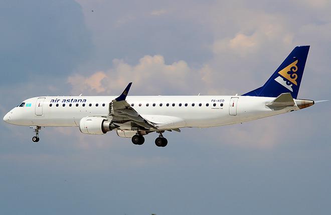 Самолет Embraer E190LR авиакомпании Air Astana