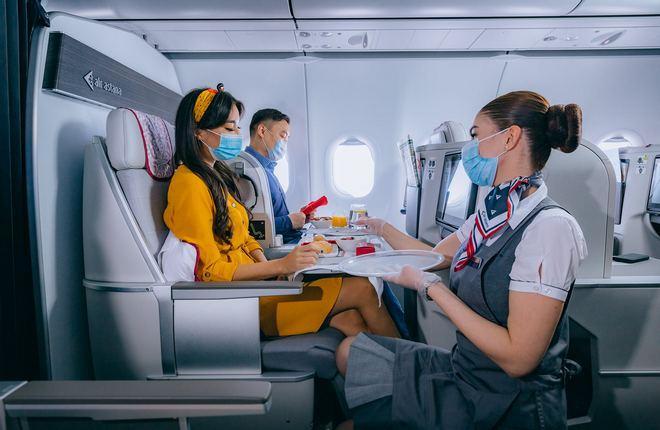 обслуживание в бизнес классе авиакомпании Air Astana
