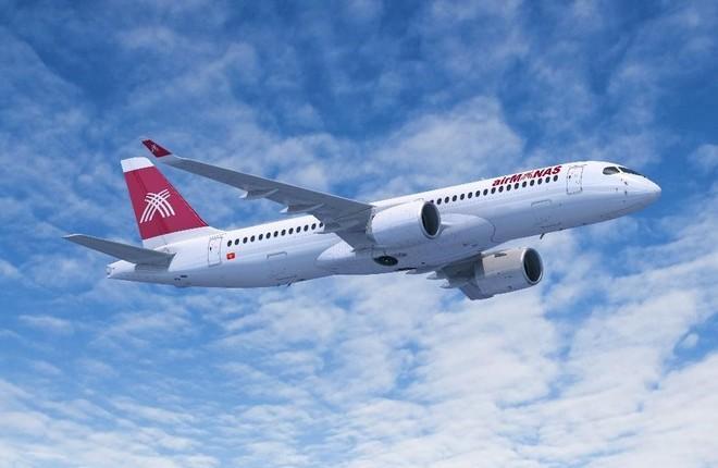 самолет Airbus A220-300 киргизской авиакомпании Air Manas