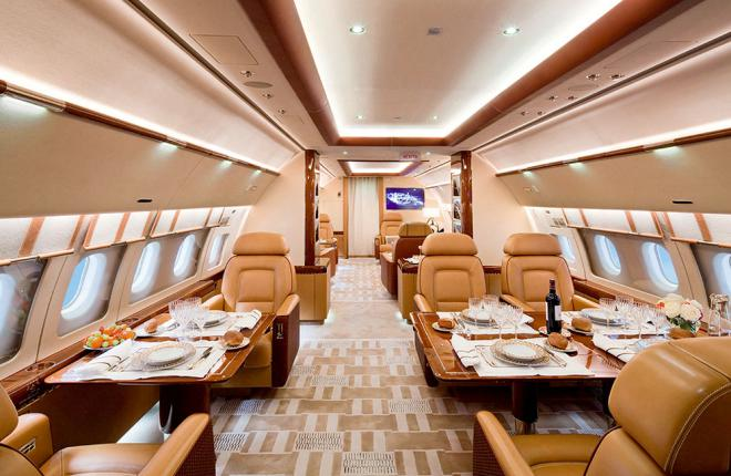 The Alberto Pinto ACJ319 interior is decorated in calm beige and brown