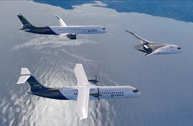 Airbus показала три концепта первого в мире пассажирского самолета с нулевым уровнем вредных выбросов