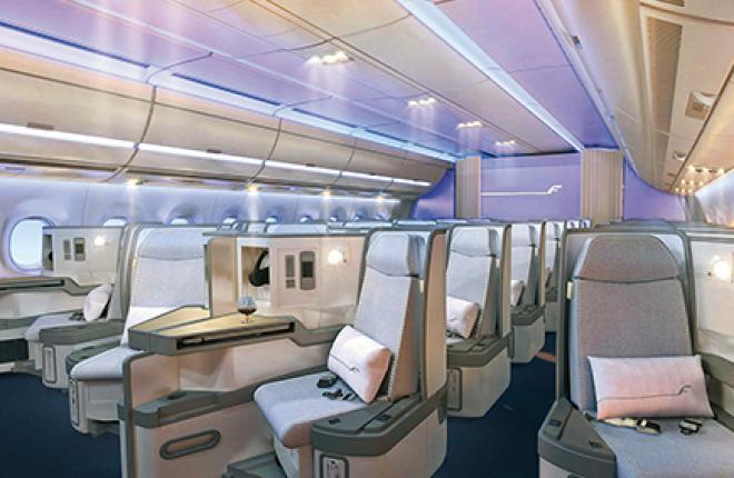 Finnair устанавливает на своем дальнемагистральном флоте кресла, раскладывающиеся в горизонтальное положение, чтобы привести эти салоны в соответствие с салонами бизнес-класса самолетов Airbus A350 (на фото), которые она заказала