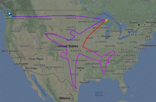 Траектория испытательного полета Boeing 787