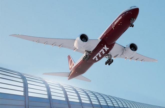 Компьютерное изображение самолета Boeing 777X