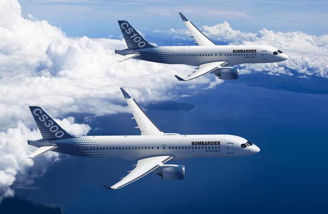 Самолеты Bombardier CS100 и CS300