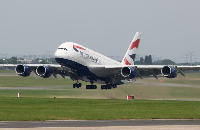 Самолет A380 авиакомпании British Airways