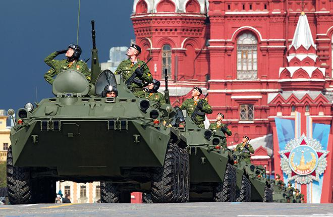 New BTR-82А armored vehicles at the military parade on the Red Square