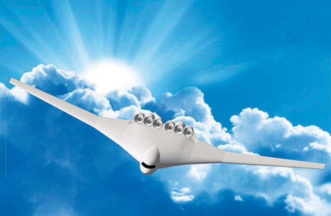 Самолет с распределенной силовой установкой обеспечивает низкий уровень шума на местности