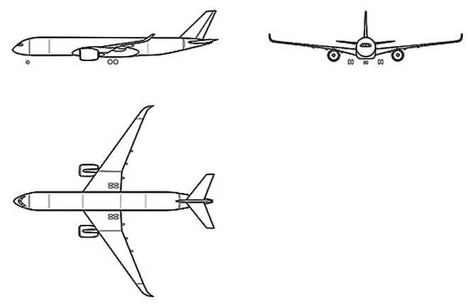 Проекции самолета CR929
