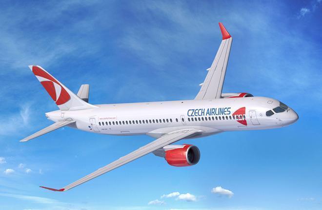 самолет Airbus A220-300 чешской авиакомпании CSA Czech Airlines