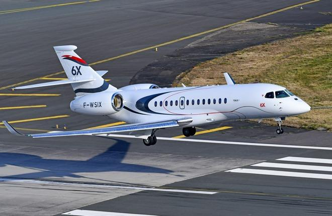 первый полет бизнес-джета Dassault Falcon 6X