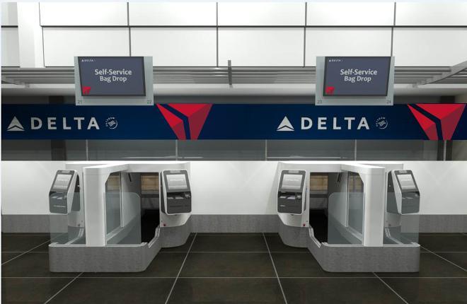Стойки самостоятельно сдачи багажа на рейсы Delta Air Lines