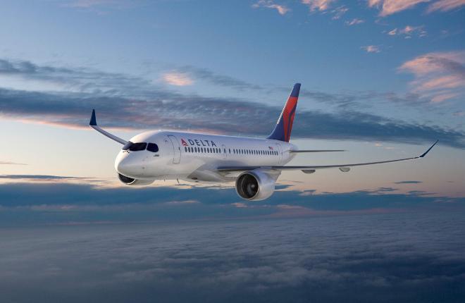 Рендеринг самолета CS100 в ливрее Delta Air Lines