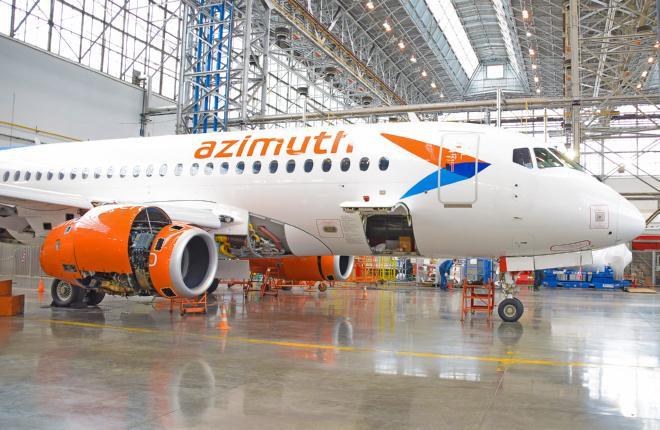 """S7 Technics выполнил первый C-check самолета SSJ 100 в истории авиакомпании """"Азимут"""""""