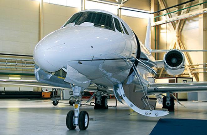 EastUnion is demonstrating an upgraded Cessna Citation Sovereign+ in the Vnukovo 3 static park