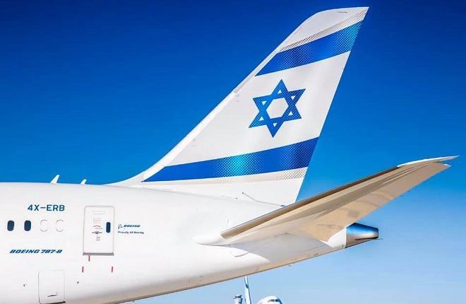 Хвост самолета Boeing 787 авиaкомпании El Al