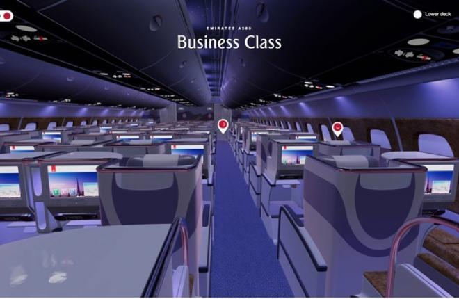 3D-обзор пассажирского салона Airbus A380 Emirates