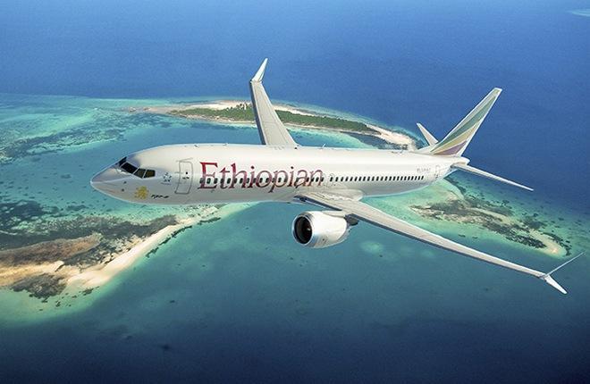 самолет Boeing 737MAX-8 эфиопской авиакомпании Ethiopian Airlines