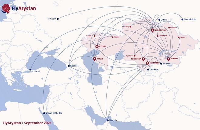 «Зимняя» маршрутная сеть казахстанского лоукостера FlyArystan -- 46 маршрутов