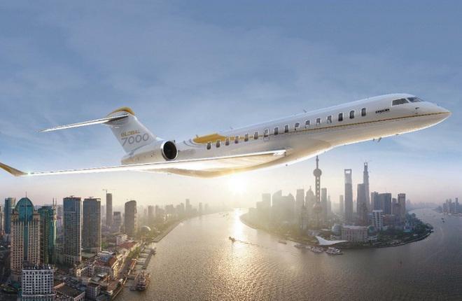 Сгенерированное компьютером изображение бизнес-джета Bombardier Global 7000