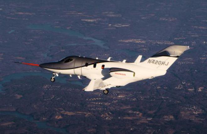 conforming HondaJet first flight