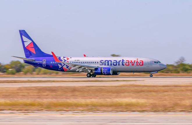 Самолет Smartavia в аэропорту Симферополя