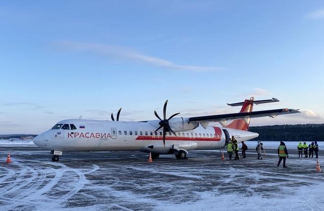 """первый коммерческий полет самолета ATR 72 авиакомпании """"КрасАвиа"""" 5 февраля"""