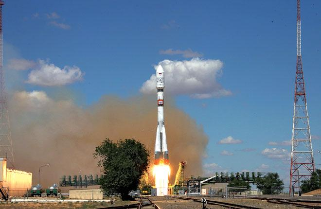 Старт ракеты-носителя «Союз-2.1а» c космодрома Байконур, 14 июля 2017 года