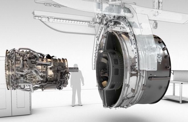 Кадр из компьютерного ролика про сборку двигателей CFM International LEAP