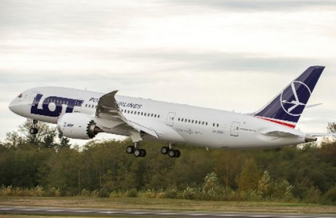 Первый самолет Boeing 787 авиакомпании LOT приземлился в Варшаве