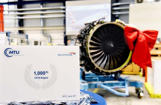 Тысячный двигатель CF34, прошедший капитальный ремонт в MTU Maintenance