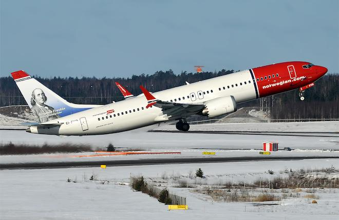 Boeing 737MAX авиакомпании Norwegian