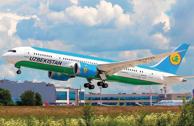 Самолет Boeing 787 Dreamliner авиакомпании Uzbekistan Airways