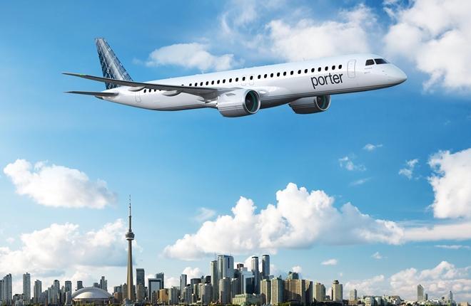 самолет Embraer E2 канадской авиакомпании Porter Airlines