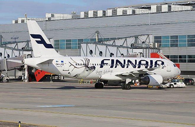 самолет A320 Finnair в Праге
