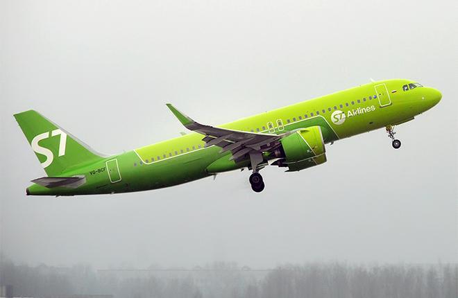 Самолет Airbus A320neo авиакомпании S7 Airlines