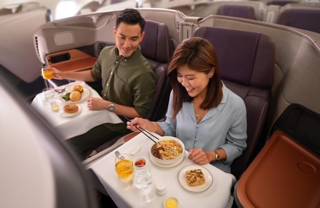 обед в бизнес-классе Singapore Airlines