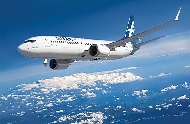 Самолет Boeing 737МАХ  сингапурской авиакомпании SilkAir