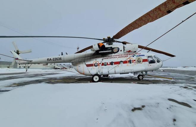 """Первое изъятие – вертолет Ми-8МТВ-1 (заводской серийный номер 97449, бортовой номер RA-22636) -- было произведено у авиакомпании """"СКОЛ""""на территории аэропорта «Пермь»"""